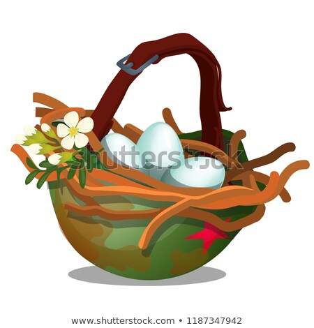 Bird nest with eggs inside military helmet isolated on white background. Symbol of truce and the end Stock photo © Lady-Luck