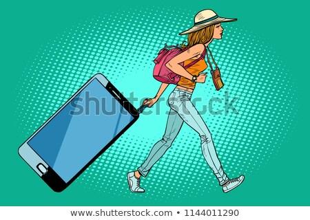 Nő utazó okostelefon szerkentyű csomagok képregény Stock fotó © rogistok