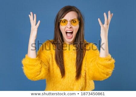 недовольный кричали брюнетка женщину случайный одежды Сток-фото © deandrobot