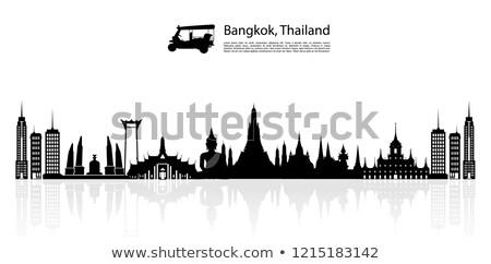 Arany sziluett Bangkok fekete város sziluett Stock fotó © Ray_of_Light