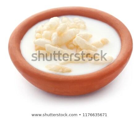 Friss tej agyag cserépedények rizs fehér háttér Stock fotó © bdspn