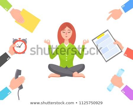 Munka kör meditál fiatal nő poszter kezek Stock fotó © robuart