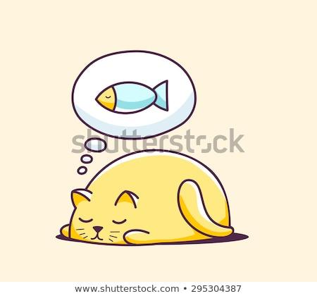 gato · pensando · feliz · desenho · animado · sorridente · nuvem - foto stock © robuart