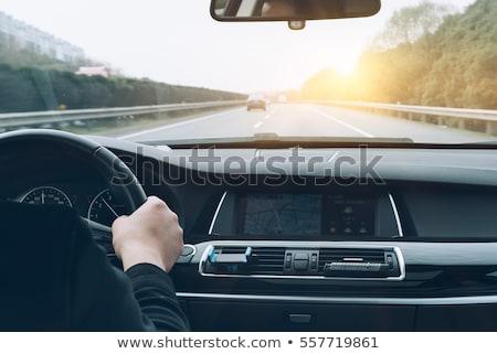 Handen rijden auto snelweg kleur afbeelding Stockfoto © lightpoet