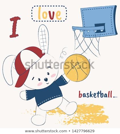 Rajz mosolyog kosárlabdázó nyuszi boldog labda Stock fotó © cthoman