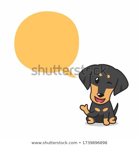 Karikatür daksund konuşma örnek mutlu grafik Stok fotoğraf © cthoman