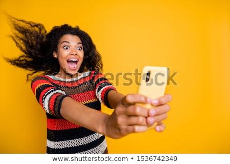 Omg kadın telefon komik karikatür pop art Stok fotoğraf © rogistok