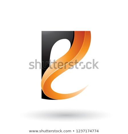 orange and black glossy curvy embossed letter e vector illustrat stock photo © cidepix