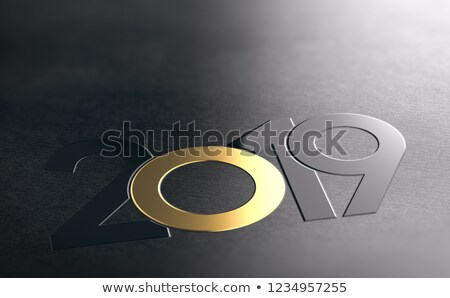year 2019 umbossed on paper background black and golden graphic stock photo © olivier_le_moal