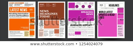 Newspaper Cover Set Vector. Abstract News Template. Blank Page Spaces For Images. Breaking. Realisti Stock photo © pikepicture