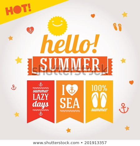 summer big sale posters with summertime icons sign stock photo © robuart