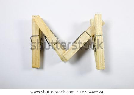 洗濯挟み 手紙m 木製 孤立した 白 手紙 ストックフォト © boggy