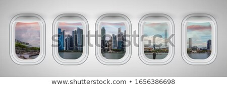 Stock fotó: Jelenet · repülőgép · repülés · illusztráció · tenger · háttér