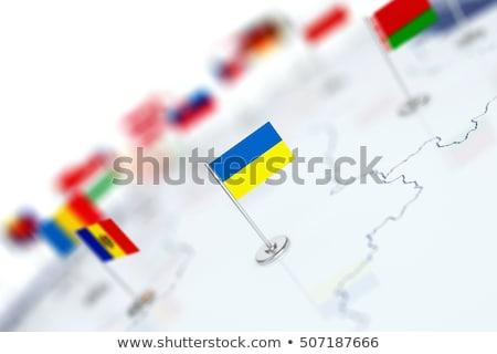 флаг Евросоюз Украина белый изолированный 3D Сток-фото © ISerg
