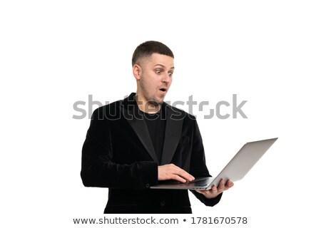 小さな ビジネスマン スーツ 作業 ラップトップコンピュータ ストックフォト © deandrobot