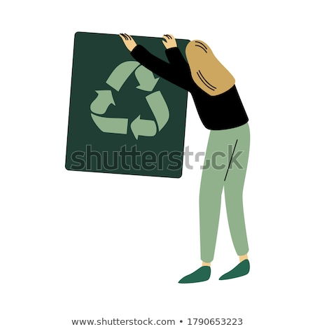 girl with picture of green recycle symbol on paper Stock photo © dolgachov
