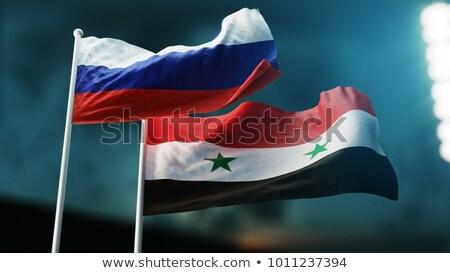 Twee vlaggen Rusland Syrië geïsoleerd Stockfoto © MikhailMishchenko
