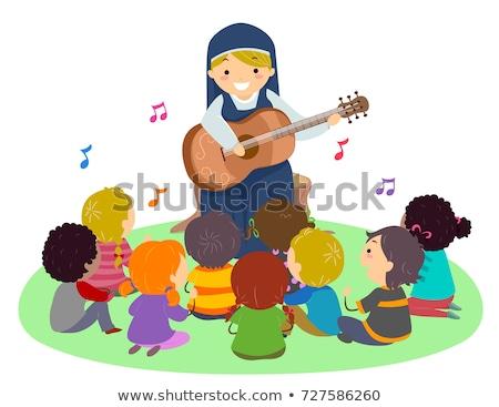 Kinderen non gitaar zingen illustratie zingen Stockfoto © lenm