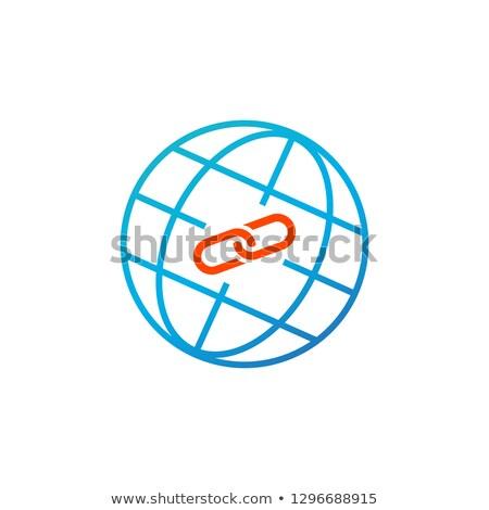 Háló láncszem földgömb ikon egyszerű kék Stock fotó © kyryloff