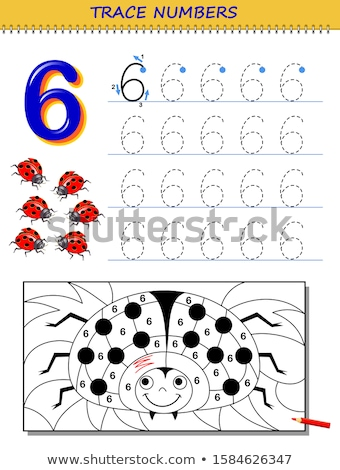 number six tracing worksheets stock photo © colematt