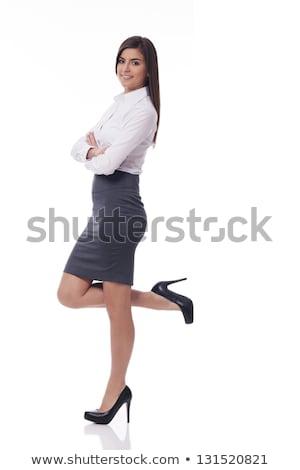 Oldalnézet visel magassarkú üzletasszony áll fehér Stock fotó © feedough
