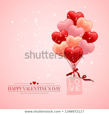 Stock photo: Happy Valentines Day background, red, pink and orange balloon in form of heart with bow and ribbon a