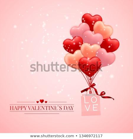 Feliz día de san valentín rojo rosa naranja globo Foto stock © olehsvetiukha