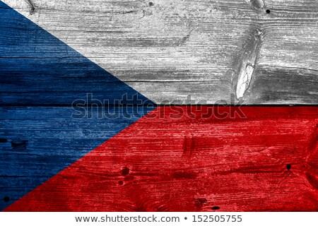 Tsjechische Republiek vlag houten frame illustratie hout ontwerp Stockfoto © colematt
