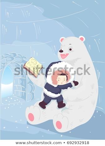 Kid ragazzo orso polare igloo storia colorato Foto d'archivio © lenm