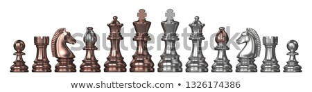 silver and bronze all chess pieces 3d stock photo © djmilic