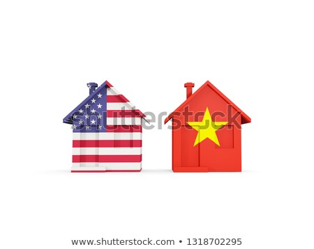 Two houses with flags of United States and vietnam Stock photo © MikhailMishchenko