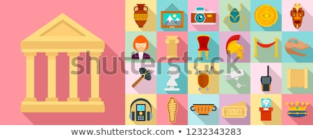 Archeology flat concept icons Stock photo © netkov1