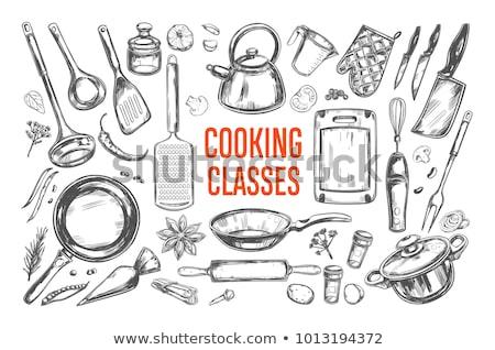 Schets ingesteld keuken messen achtergrond metaal Stockfoto © Arkadivna