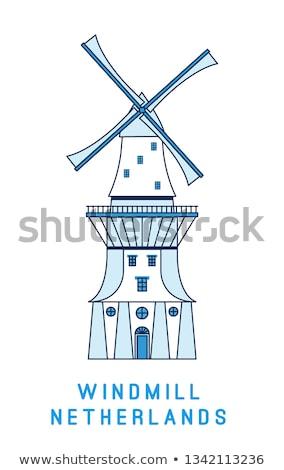 Linha arte moinho de vento isolado branco Holanda Foto stock © MarySan