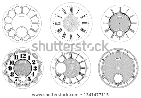 Stock photo: Clock face blank set isolated on white background. Vector watch design. Vintage roman numeral clock