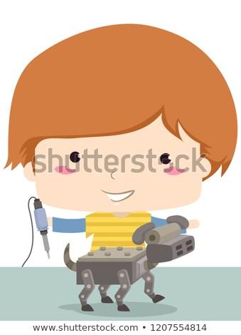 Gyerek fiú forrasztás vasaló robot kutya Stock fotó © lenm