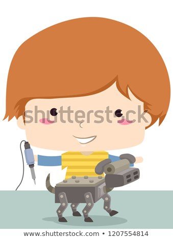 Kid garçon à souder fer robot chien Photo stock © lenm