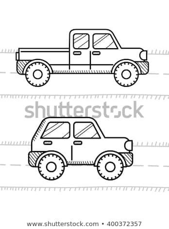 Cars coloring book for kids. Pickup, 4WD Stock photo © sonia_ai