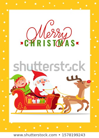 Alegre natal cartão papai noel elfo veado Foto stock © robuart