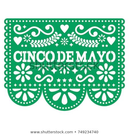Mexikói fiesta vektor sablon terv papír kivágás Stock fotó © RedKoala
