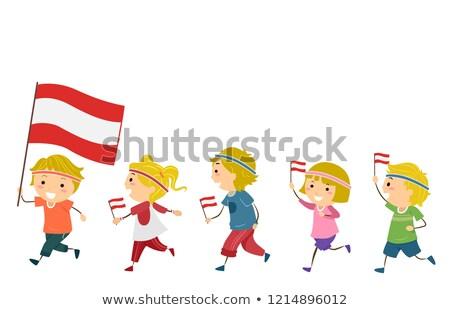 Stickman Kids Austria National Day Fitness Parade Stock photo © lenm