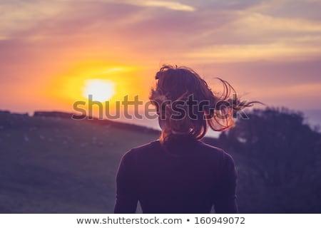 Verbazingwekkend mooie jonge vrouw buitenshuis veld afbeelding Stockfoto © deandrobot