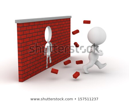 3d small people   running with obstacles stock photo © anatolym