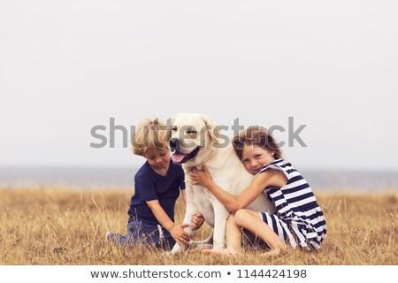 vrouw · lopen · kind · cute · huisdier · hond - stockfoto © colematt