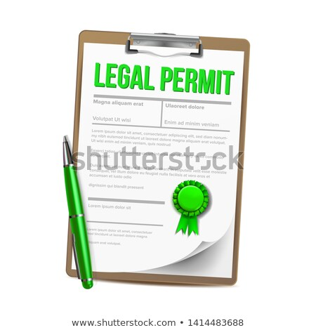 Foto stock: List Of Paper With Legal Permit Clipboard Vector
