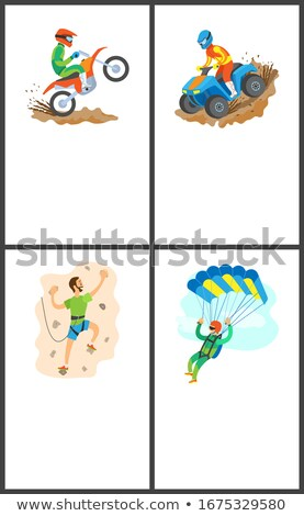 Motorbike and Wall Climbing, Skydiver Poster Set Stock photo © robuart