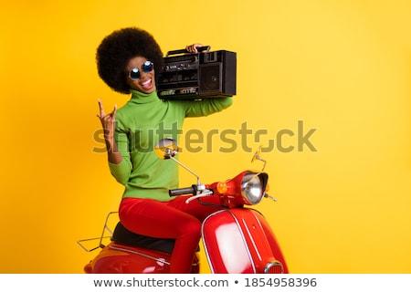 Biker on Motorbike Showing Horn Sign Gesturing Stock photo © robuart