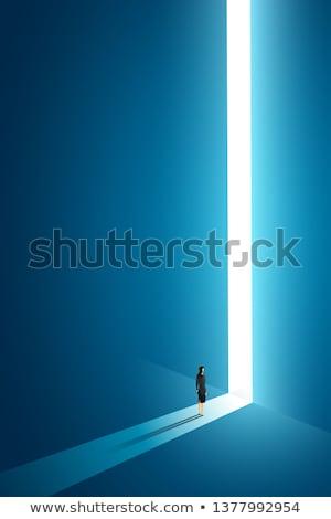 Kadın ayakta büyük anahtar deliği tek başına iş Stok fotoğraf © ra2studio
