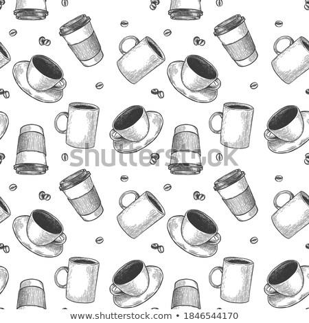 Seamless pattern coffee to go on dark background Stock photo © netkov1