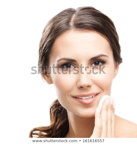 Happy european woman with cotton pad, isolated on white Stock photo © serdechny